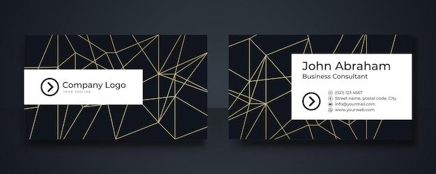 Luxus-visitenkarten-designvorlage in schwarz und gold mit geometrischen linien im art-deco-gold