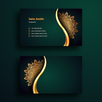 Luxus-visitenkartenschablone mit dekorativem mandala-arabesque-design