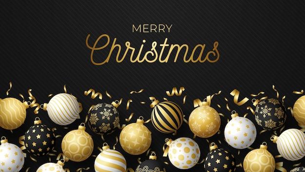 Luxus weihnachts- und neujahrsgrußkarte mit baumkugeln. weihnachtskarte mit verzierten realistischen schwarzweiss-kugeln und konfetti auf schwarzem modernem hintergrund. illustration.