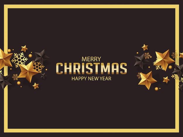 Luxus-weihnachtsgrüße mit goldenen und schwarzen sternen