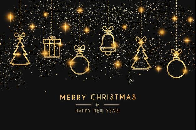 Luxus-weihnachtskarte mit niedlichen goldenen weihnachtsikonen mit textur