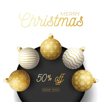 Luxus weihnachtsverkauf quadratische banner. realistische kugeln.