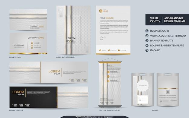 Luxus weißgold briefpapier set und visuelle markenidentität