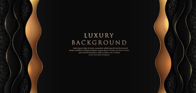 Luxus wellig überlappend auf schwarzem hintergrund mit glitzer und goldenen linien, die punkte goldene kombinationen leuchten.
