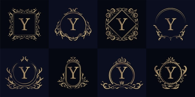 Luxus y ornament rahmen erste y logo set kollektion.