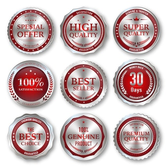 Luxusabzeichen und -etiketten in silber und rot in premiumqualität