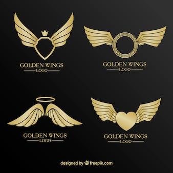 Luxusauswahl von goldenen logos mit flügeln