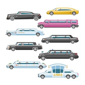 Luxusauto der limousinenvektorlimousine und retro-autotransport und fahrzeugautomobil-illustrationssatz des isolierten stadtautos des autotransports auf weißem hintergrundillustration