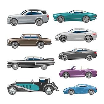 Luxusauto retro-autotransport und fahrzeugautomobil-illustrationssatz des isolierten stadtwagens der automobilindustrie auf weißem hintergrundillustration