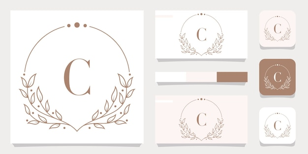 Luxusbuchstabe c-logoentwurf mit blumenrahmenschablone, visitenkartenentwurf