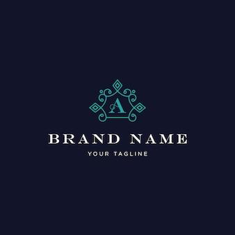 Luxusbuchstabe eine klassische weinlese-verzierung logo turquoise color