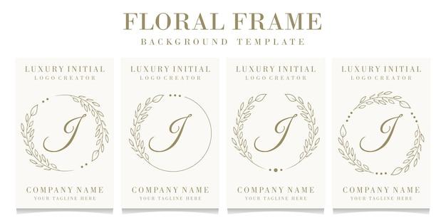 Luxusbuchstabe j logoentwurf mit blumenrahmenhintergrundschablone