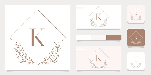 Luxusbuchstabe k-logoentwurf mit blumenrahmenschablone, visitenkartenentwurf