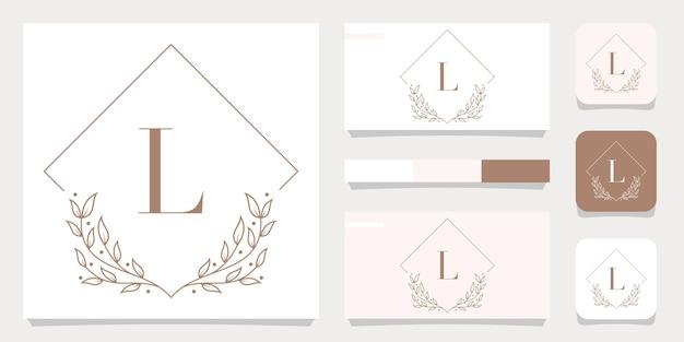 Luxusbuchstabe l-logoentwurf mit blumenrahmenschablone, visitenkartenentwurf