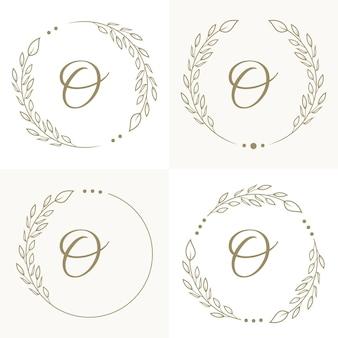 Luxusbuchstabe o-logoentwurf mit blumenrahmenhintergrundschablone