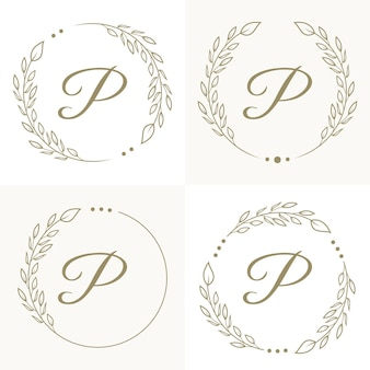 Luxusbuchstabe p logoentwurf mit blumenrahmenhintergrundschablone