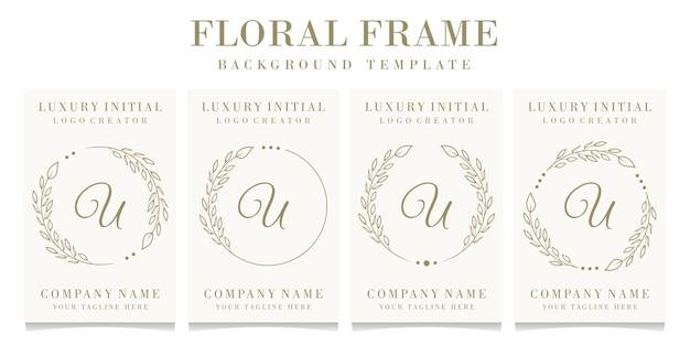 Luxusbuchstabe u-logoentwurf mit blumenrahmenhintergrundschablone