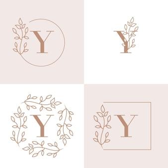 Luxusbuchstabe y-logoentwurf mit blumenrahmenhintergrundschablone