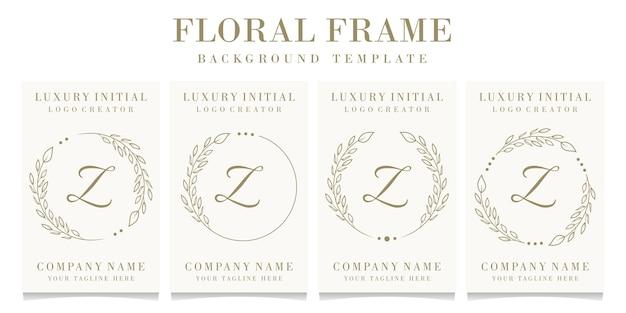 Luxusbuchstabe z-logoentwurf mit blumenrahmenhintergrundschablone