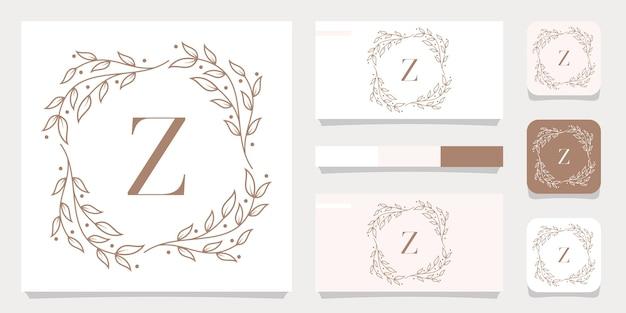 Luxusbuchstabe z-logoentwurf mit blumenrahmenschablone, visitenkartenentwurf
