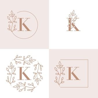 Luxusbuchstaben k logoentwurf mit blumenrahmenhintergrundschablone