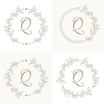 Luxusbuchstaben-q-logoentwurf mit blumenrahmenhintergrundschablone