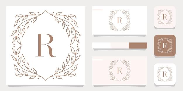 Luxusbuchstaben-r-logoentwurf mit blumenrahmenschablone, visitenkartenentwurf