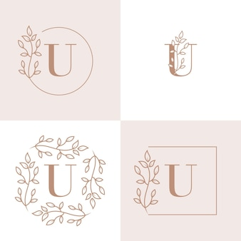 Luxusbuchstaben-u-logoentwurf mit blumenrahmenhintergrundschablone