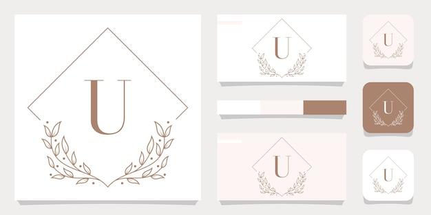 Luxusbuchstaben-u-logoentwurf mit blumenrahmenschablone, visitenkartenentwurf