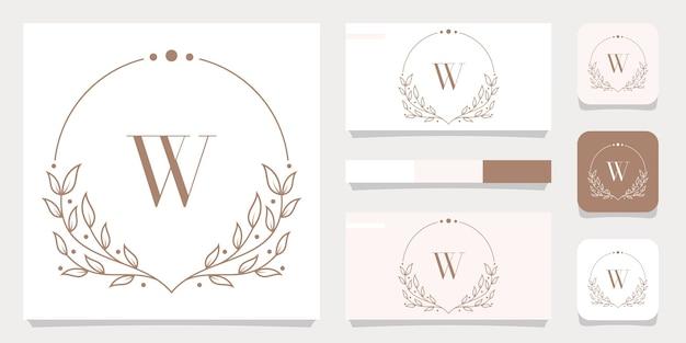 Luxusbuchstaben-w-logoentwurf mit blumenrahmenschablone, visitenkartenentwurf