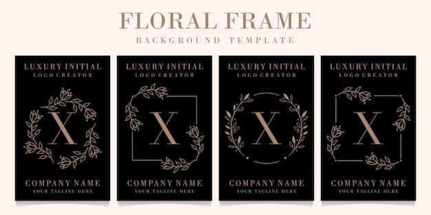 Luxusbuchstaben x logoentwurf mit blumenrahmenhintergrundschablone