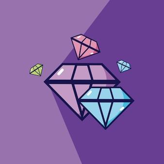 Luxusdiamanten über purpurrotem hintergrundvektor-illustrationsgrafikdesign