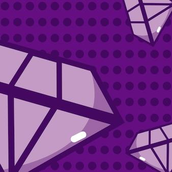 Luxusdiamantkarikatur oer purpurrotes hintergrundvektor-illustrationsgrafikdesign