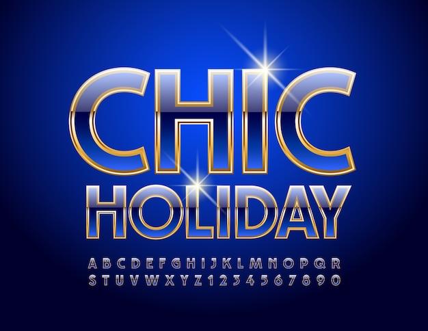 Luxuseinladung chic holiday. hochglanzblau und gold schrift. elite alphabet buchstaben und zahlen