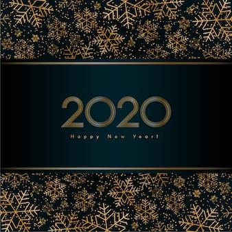 Luxusfahne des weihnachtsneuen jahres 2020 mit goldschneeflocken-funkeln vektor