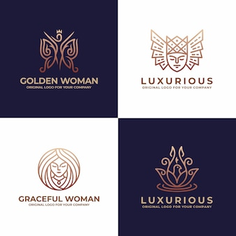 Luxusfrau, gesicht, salon, schönheitslogodesign.
