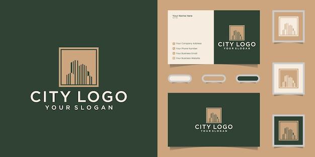 Luxusgebäude-logo mit quadratischer und goldener farbentwurfsschablone und visitenkarte