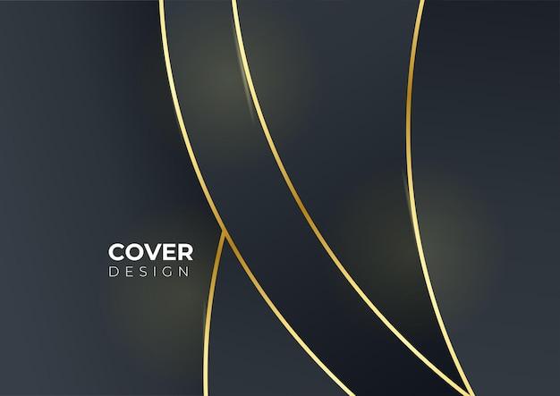Luxusgeschäftsabdeckungshintergrund, abstrakte dekoration, goldenes muster, halbtonverläufe, illustration des vektors 3d. schwarzgold-cover-vorlage, geometrische formen, modernes minimalistisches banner