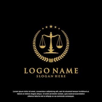 Luxusgesetz logo-design mit abzeichen, die sternelemente und lorbeeren haben