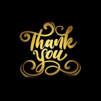 Luxusgold danke schriftzug in schwarzem hintergrund