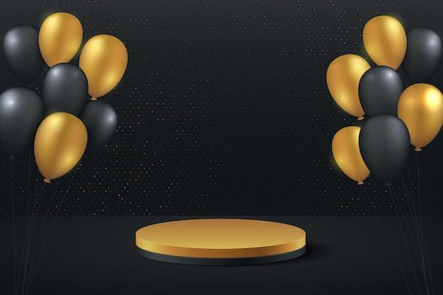 Luxusgold und schwarzer ballon 3drendering mit cylynder-podium. schwarz minimal gerenderte szene 3d mit goldener podestplattform.