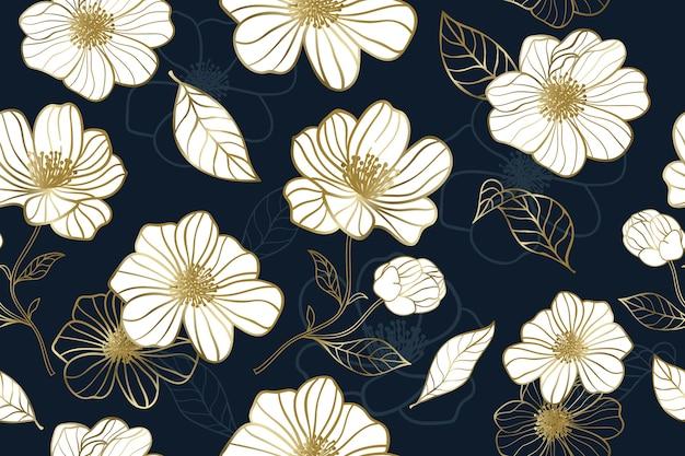 Luxusgoldblume mit nahtlosem muster des blauen hintergrunds