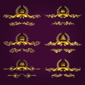 Luxusgoldetiketten mit lorbeerkranz