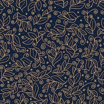 Luxusgoldnahtloses vektormuster des netten vektorblattes. abstrakter druck mit blättern