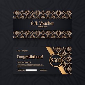 Luxusgutscheinschablone mit gold und schwarzem hintergrund.