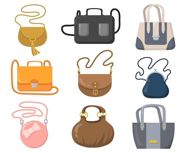 Luxushandtaschen gesetzt. stilvolle taschen, clutches und geldbörsen mit griffen und schultergurten.