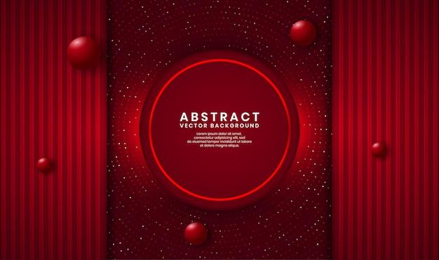 Luxushintergrund-deckschicht des abstrakten roten kreises 3d auf dunklem raum mit punkten funkeln und holz maserte form