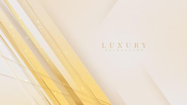 Luxushintergrund mit glitzernden goldenen linienelementen, 3d-realistisches design. vektor-illustration.