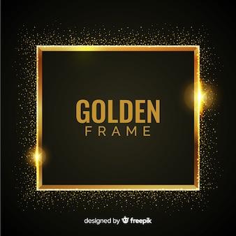 Luxushintergrund mit goldenen partikeln und quadratischem rahmen