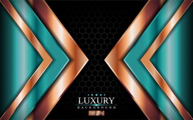 Luxushintergrund mit shinny tale green und goldenen linien formen design.